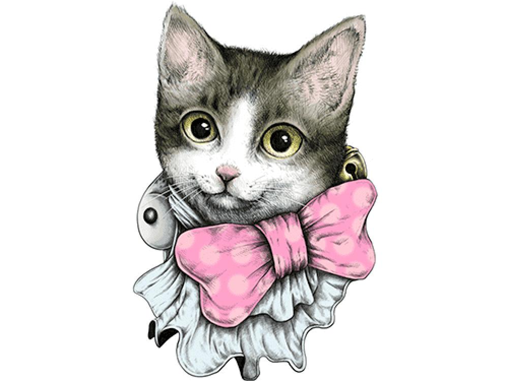 """""""Кошка с бантиком"""" Изображение для нанесения на одежду № 0934"""