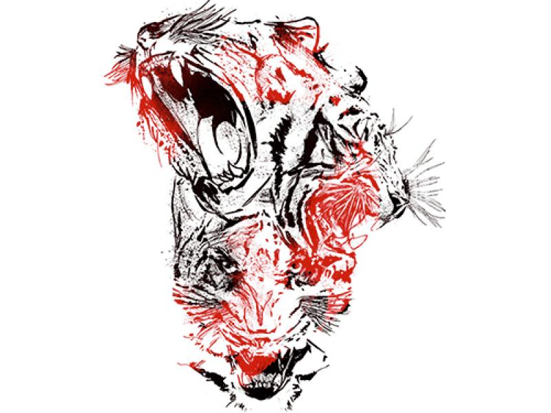 """""""Три головы тигра"""" Изображение для нанесения на одежду № 0936"""