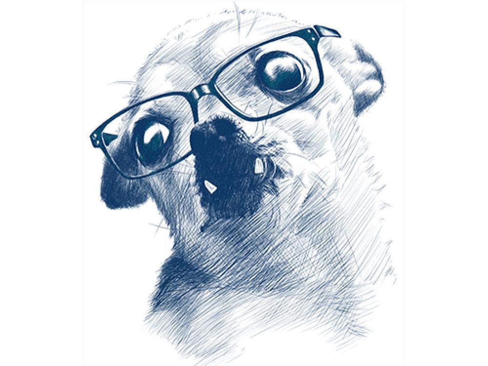"""""""собака в очках"""" Изображение для нанесения на одежду № 0939"""