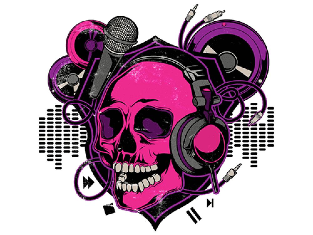 """""""DJ череп"""" Изображение для нанесения на одежду № 0941"""