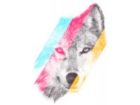 """""""Голова волка в цветную полоску"""" Изображение для нанесения на одежду № 0945"""