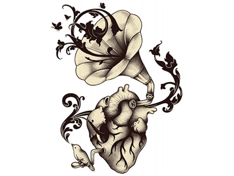 """""""Громафон цветок"""" Изображение для нанесения на одежду № 0953"""