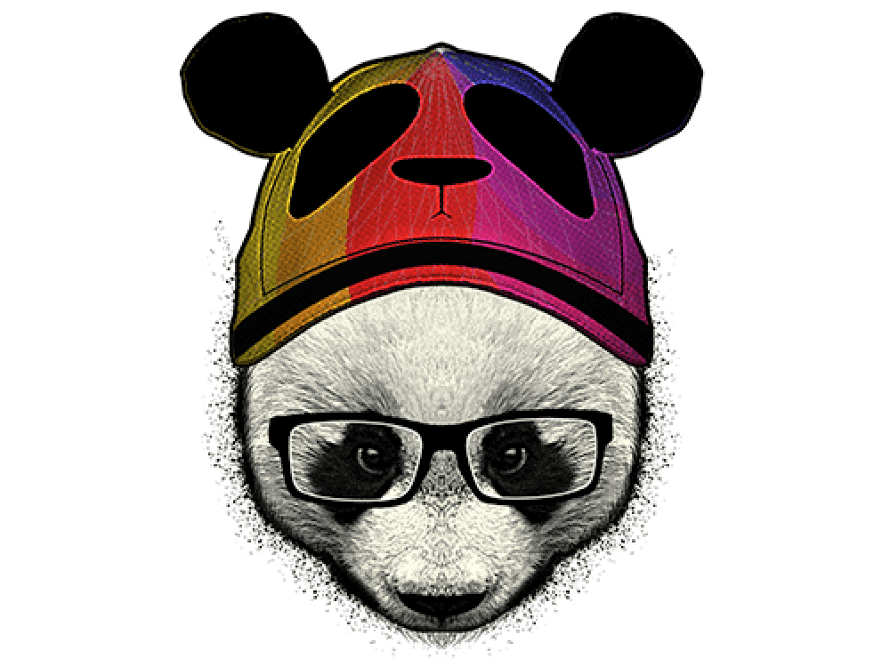 """""""Панда в шапке и очках"""" Изображение для нанесения на одежду № 0956"""