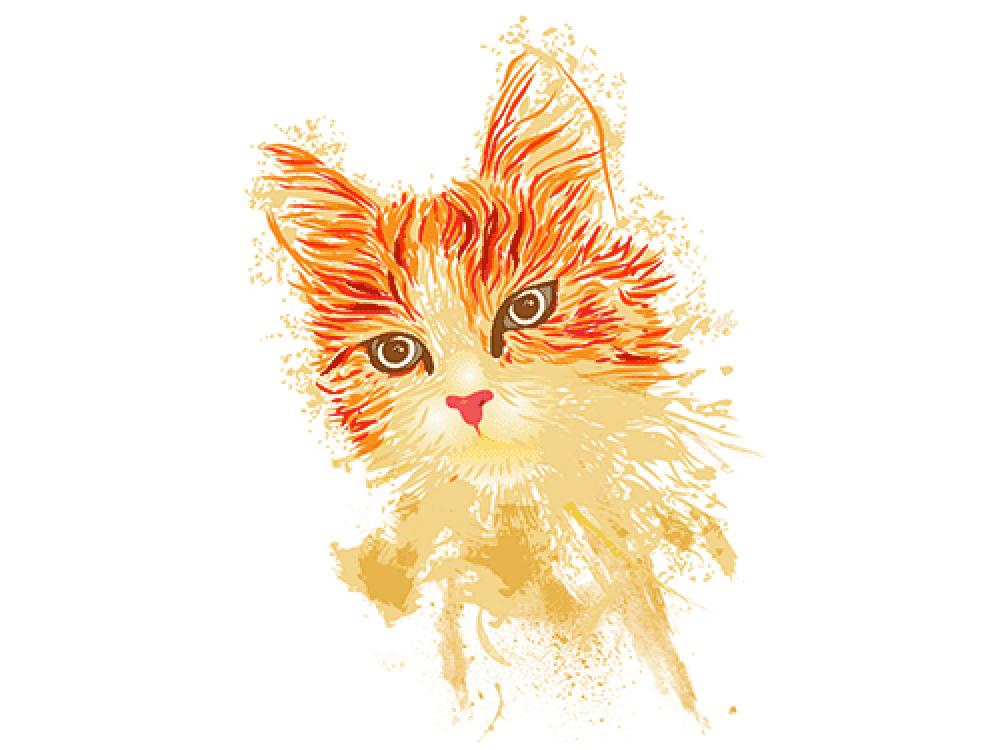 """""""Рыжая кошка"""" Изображение для нанесения на одежду № 0957"""