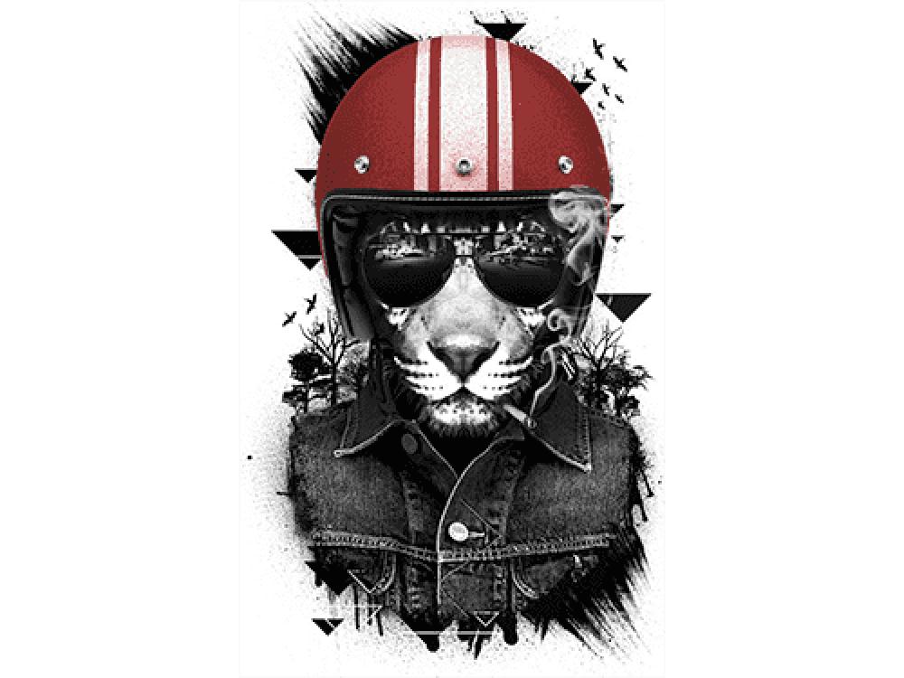 """""""Тигр в каске"""" Изображение для нанесения на одежду № 0960"""