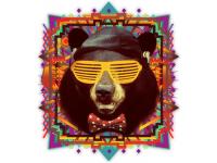 """""""Голова медведя в очках"""" Изображение для нанесения на одежду № 0977"""