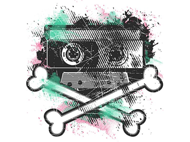 """""""Кости и касета"""" Изображение для нанесения на одежду № 0989"""