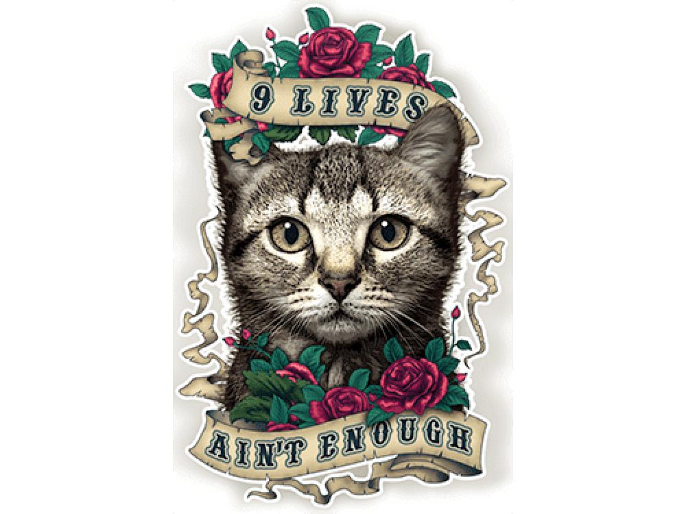 """""""9 LIVES"""" Изображение для нанесения на одежду № 1021"""