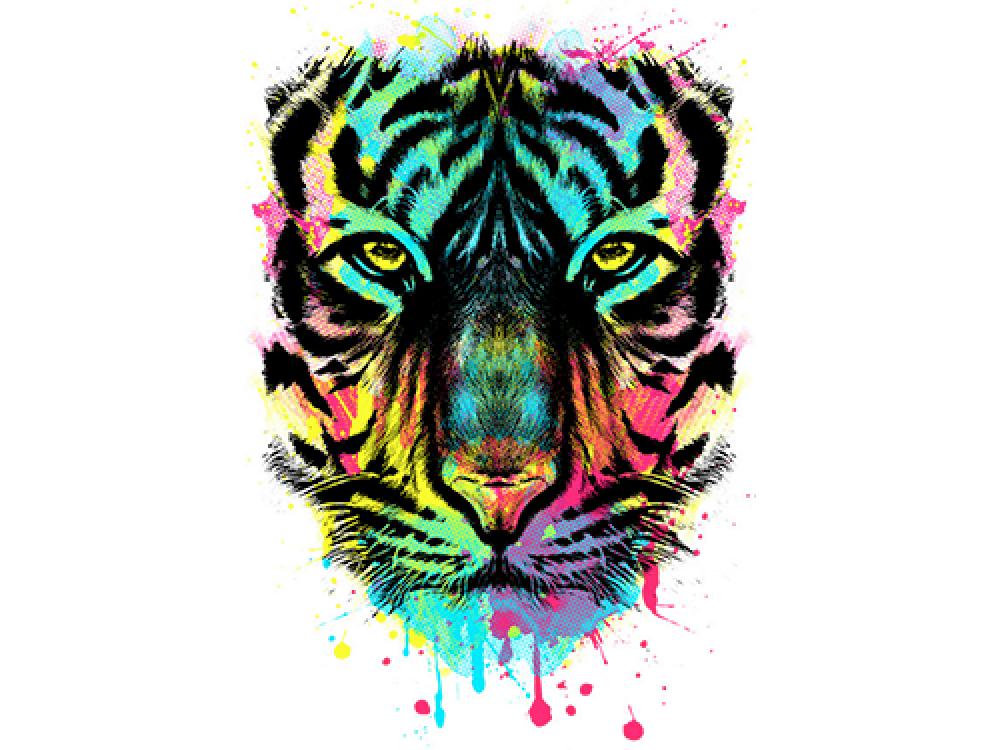 """""""Лицо тигра в цвете"""" Изображение для нанесения на одежду № 1023"""
