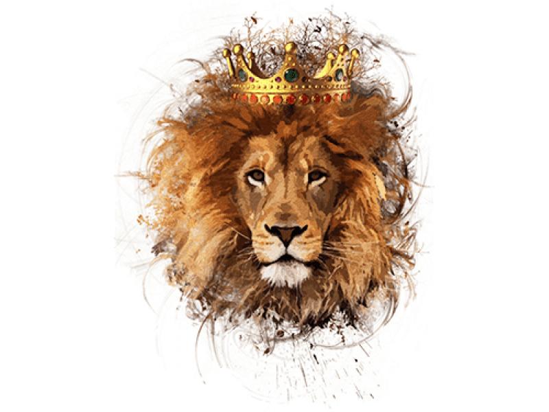 Картинка лев с короной на белом фоне