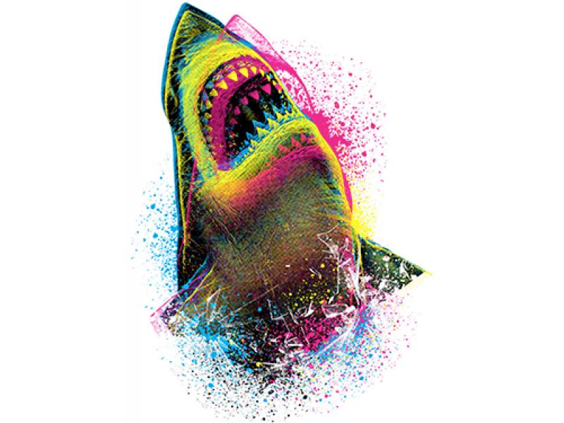 """Акула в цвете"" Изображение для нанесения на одежду № 1057"