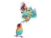 """""""Птица и ноты"""" Изображение для нанесения на одежду № 1070"""
