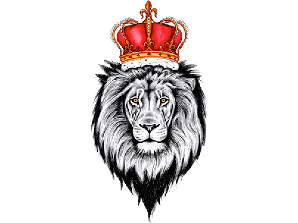 """""""Голова льва с красной короной"""" Изображение для нанесения на одежду № 1075"""