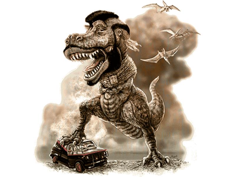 """""""Динозавр в пыли"""" Изображение для нанесения на одежду № 1091"""