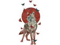 """""""Волк в красном солнце и бабочках"""" Изображение для нанесения на одежду № 1093"""