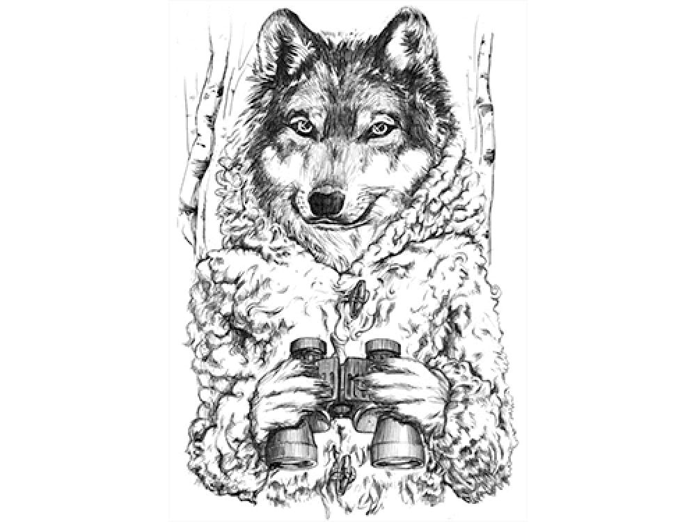 """""""Волк с биноклем"""" Изображение для нанесения на одежду № 1113"""