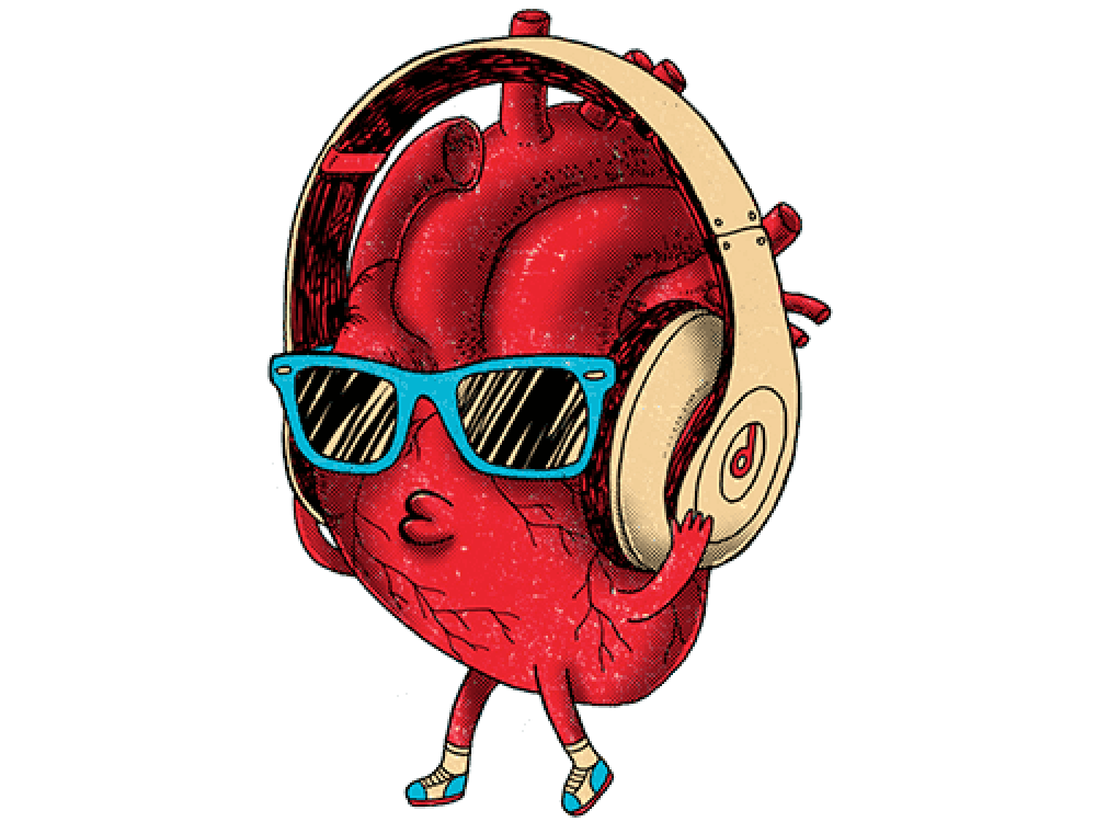 """""""Сердце в наушниках и очках"""" Изображение для нанесения на одежду № 1115"""