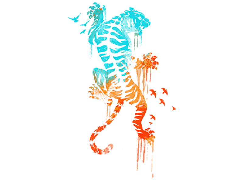 """""""Тигр красно голубой"""" Изображение для нанесения на одежду № 1116"""