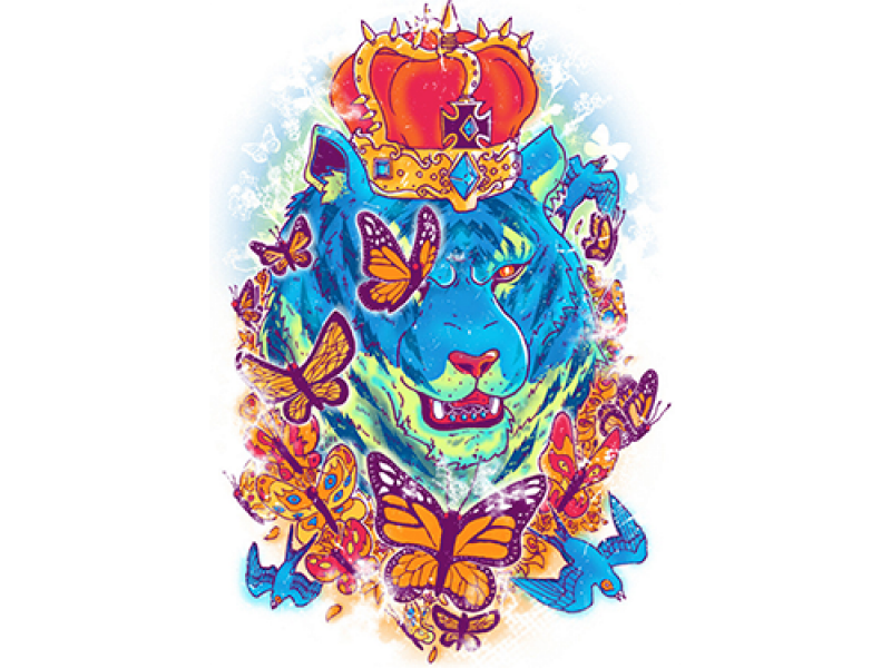 """""""Лев с бабочкой и короной"""" Изображение для нанесения на одежду № 1118"""