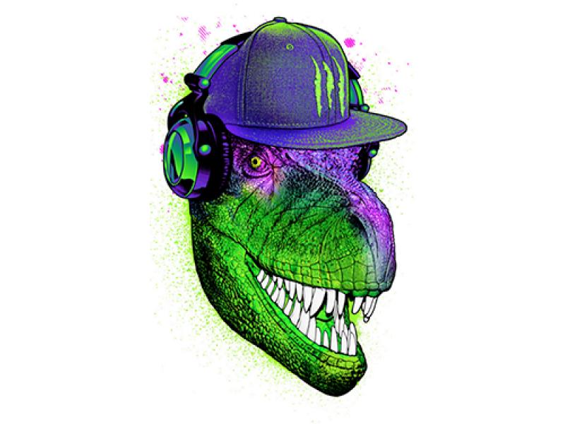 """""""Динозавр в наушниках и кепке"""" Изображение для нанесения на одежду № 1125"""