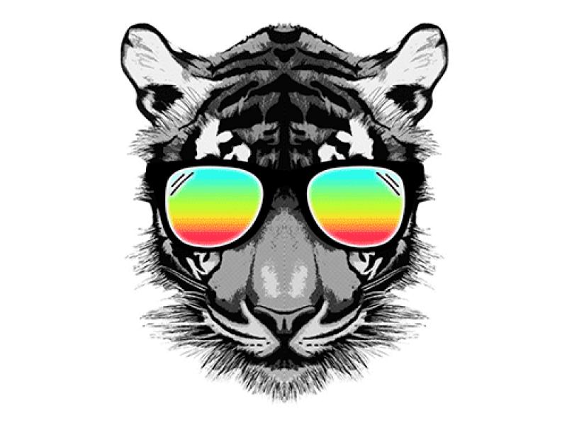 """""""Голова тигра в цветных очках"""" Изображение для нанесения на одежду № 1126"""