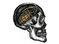 """""""Череп в мозгу с гранатой"""" Изображение для нанесения на одежду № 1129"""