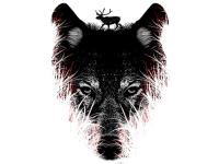 """""""Волк в ретуше"""" Изображение для нанесения на одежду № 1153"""