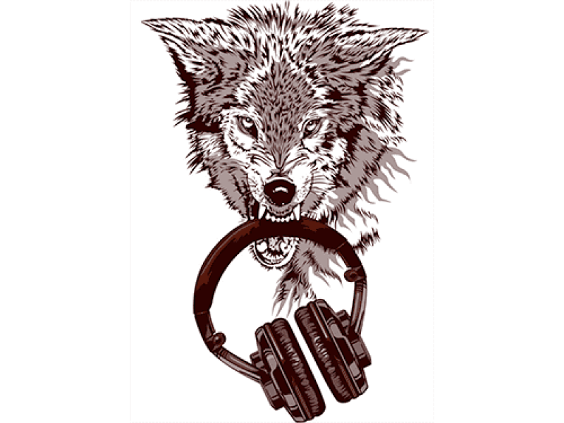 """""""Волк и наушники"""" Изображение для нанесения на одежду № 1154"""