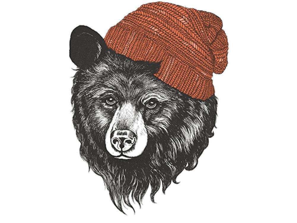 """""""Медведь в шапке"""" Изображение для нанесения на одежду № 1169"""