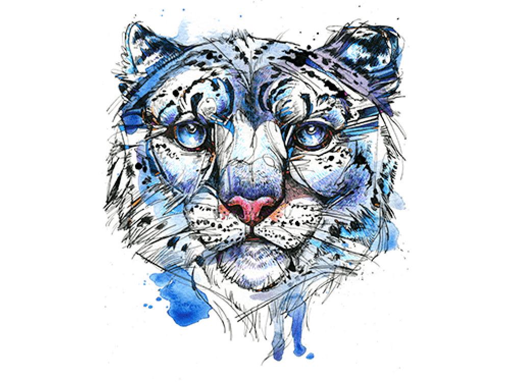 """""""Леопард в синем цвете"""" Изображение для нанесения на одежду № 1170"""