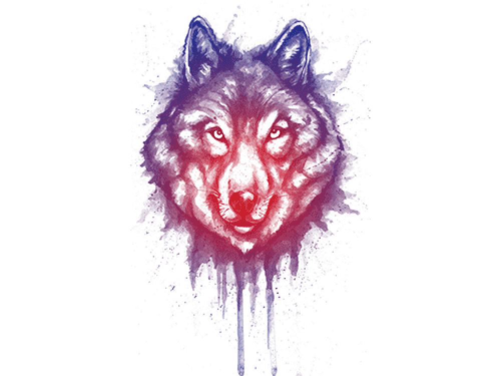 """""""Волк в потеках"""" Изображение для нанесения на одежду № 1177"""