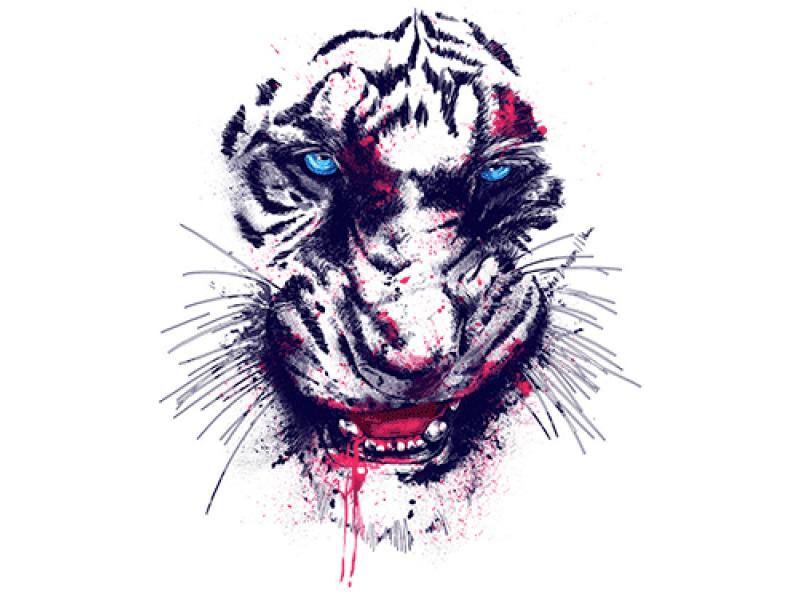 """""""Тигр с кровью"""" Изображение для нанесения на одежду № 1179"""