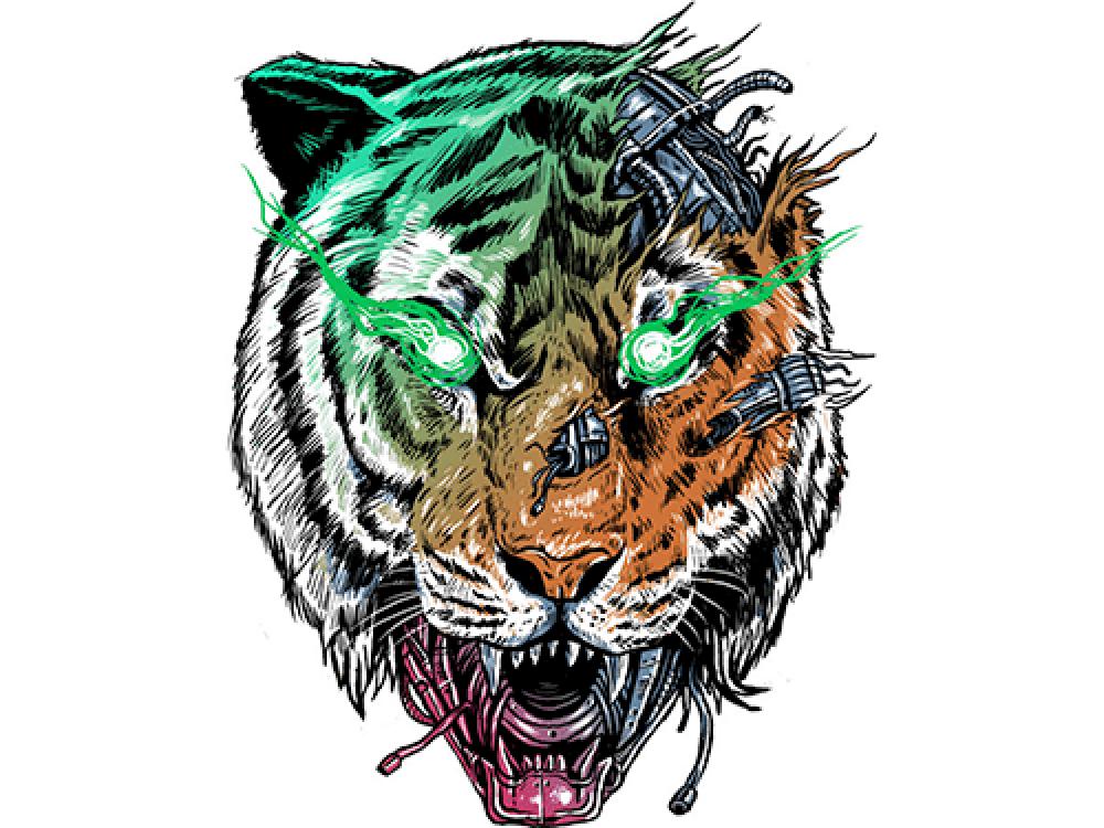 """""""Тигр с зелеными глазами"""" Изображение для нанесения на одежду № 1180"""