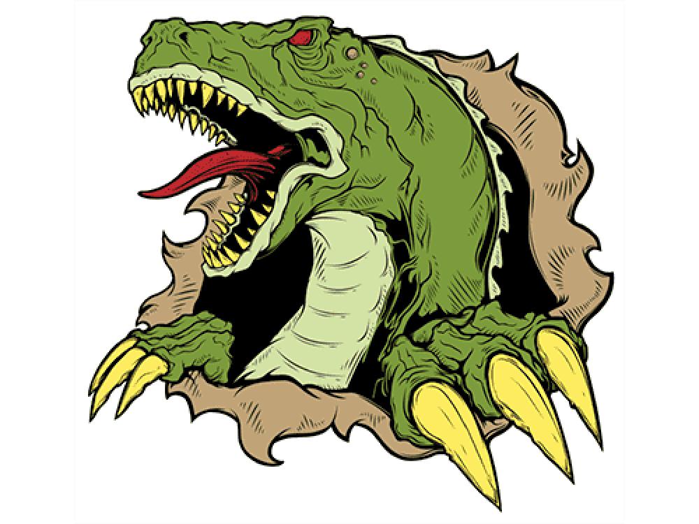 """""""Динозавр рветься"""" Изображение для нанесения на одежду № 1184"""