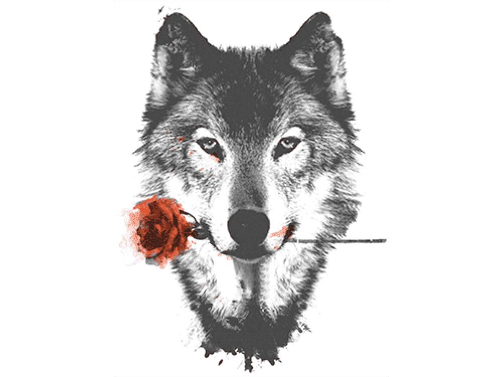 """""""Волк с цветком"""" Изображение для нанесения на одежду № 1208"""