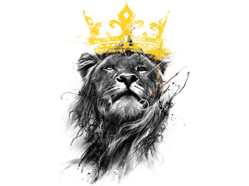 """""""Лев с золотой короной"""" Изображение для нанесения на одежду № 1209"""