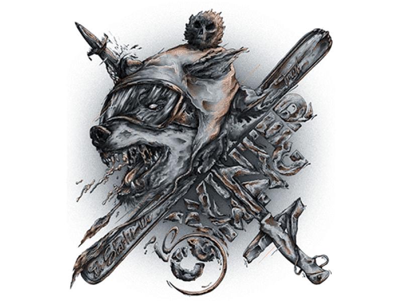 """""""Голова волка с ружьем и кинжалом"""" Изображение для нанесения на одежду № 1234"""