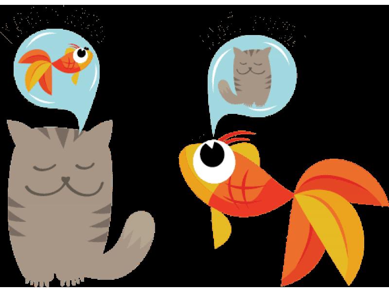 """""""Котик и рыбка"""" Изображение для нанесения на одежду № 1833"""