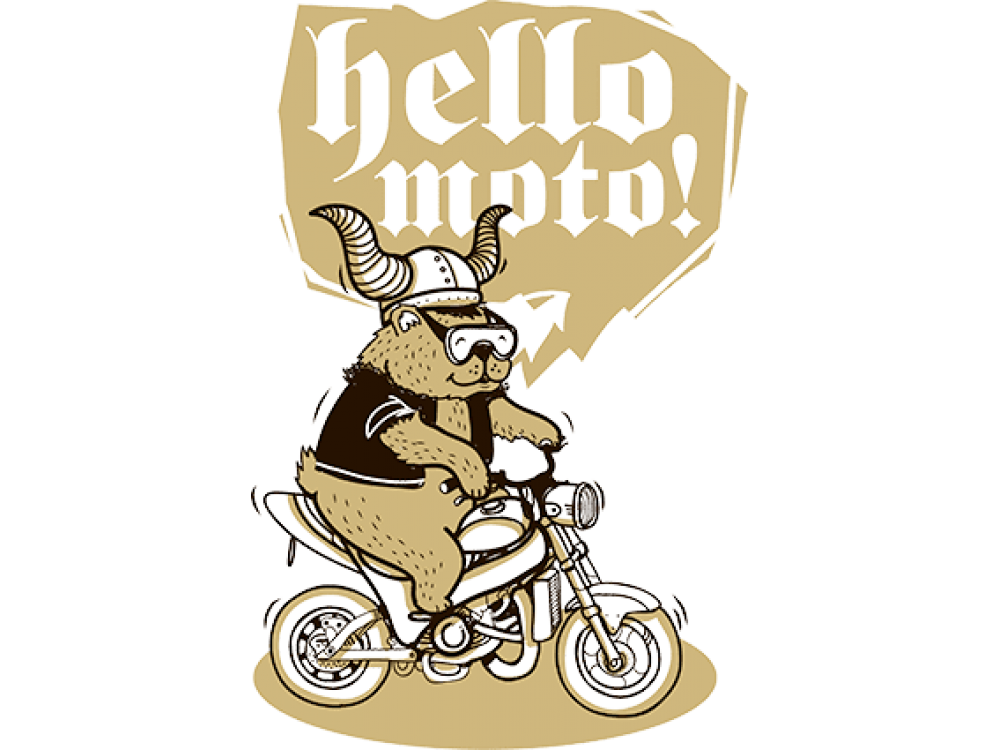 """""""HELLO MOTO"""" Изображение для нанесения на одежду № 0122"""