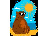 """""""Медведь на пляже"""" Изображение для нанесения на одежду № 0150"""