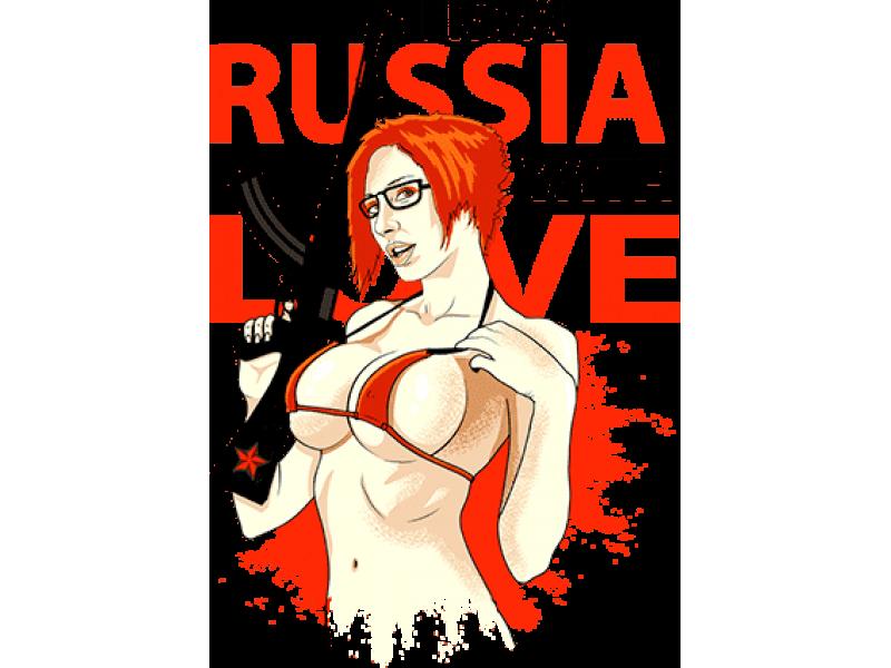"""RUSSIA LOVE"" Изображение для нанесения на одежду № 0242"