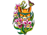 """""""Лиса в цветах и очках"""" Изображение для нанесения на одежду № 0305"""