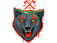"""""""Волк  в крови"""" Изображение для нанесения на одежду № 0387"""