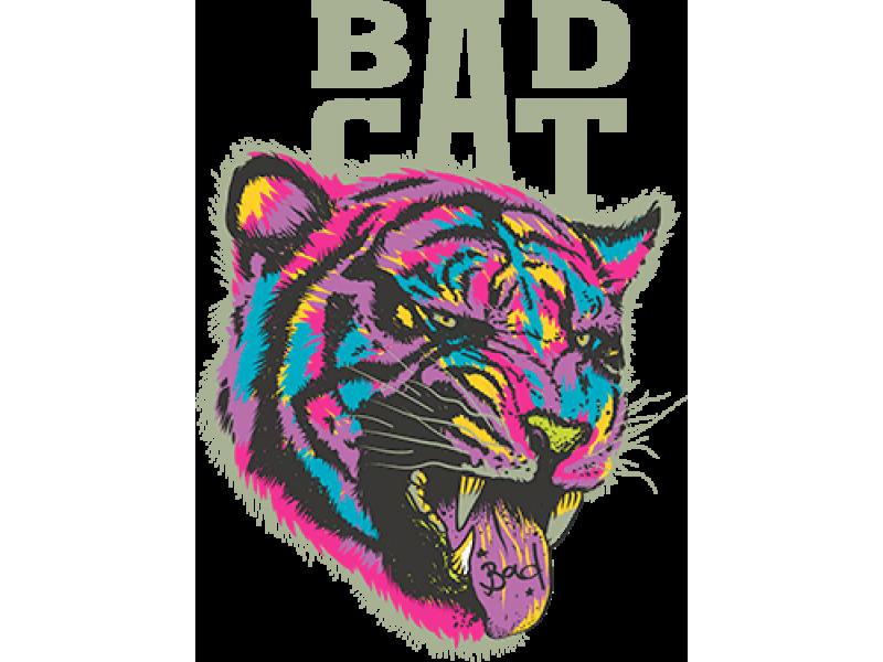 """""""BAD CAT"""" Изображение для нанесения на одежду № 0429"""