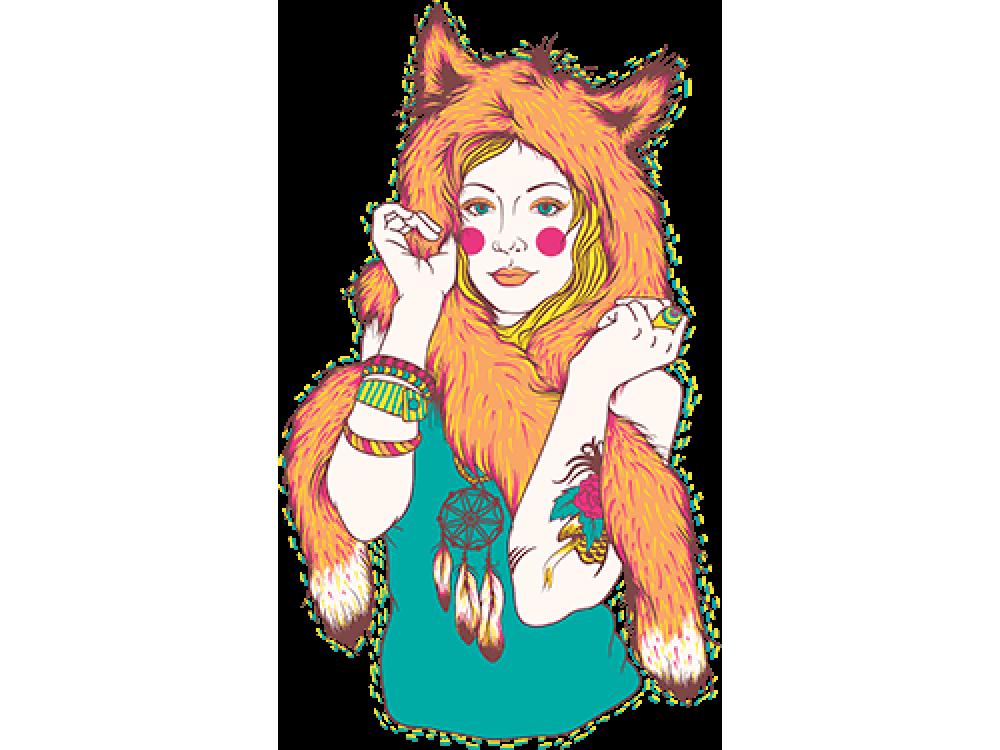 """""""Девушка лиса"""" Изображение для нанесения на одежду № 0440"""