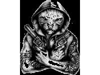 """""""Кот с пистолетом"""" Изображение для нанесения на одежду № 0455"""