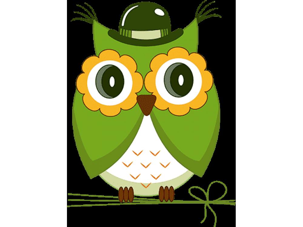 """Изображение для нанесения на одежду № 0049-1 """"Зеленая сова"""""""