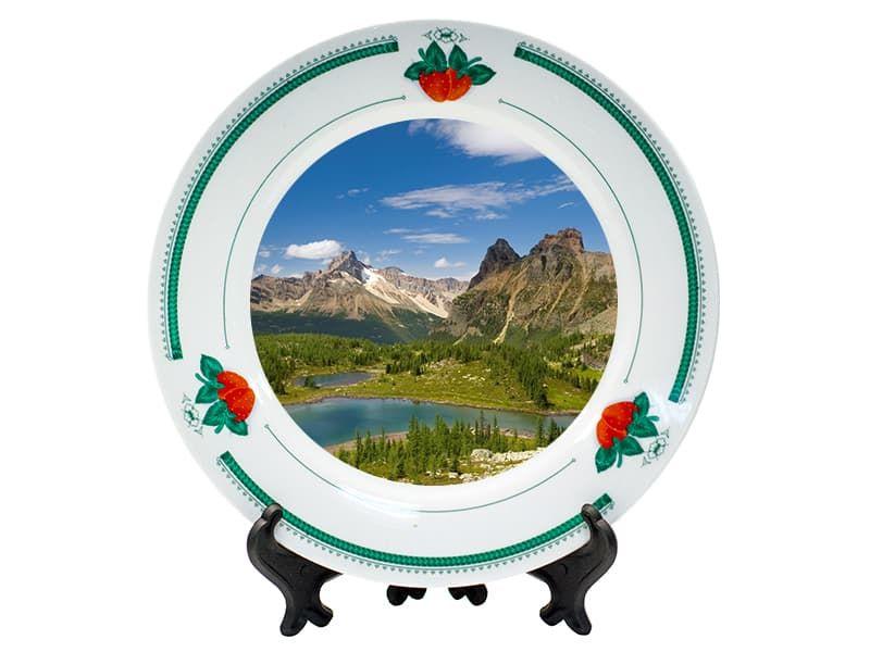 Тарелка керамическая клубника и листья d=20 см