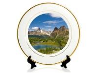 Тарелка керамическая с золотой каймой d=20см