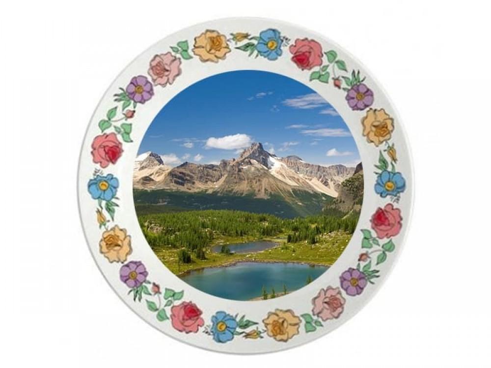 Тарелка керамическая цветы d=20 см